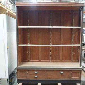 Photo of ANTIQUE COPPER EDGED HARDWOOD DISPLAY CABINET