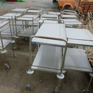 Photo of STAINLESS STEEL BENCH TROLLEY ON WHEELS